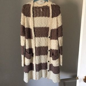 Free People Rugby Stripe Cardigan Sweater Size L